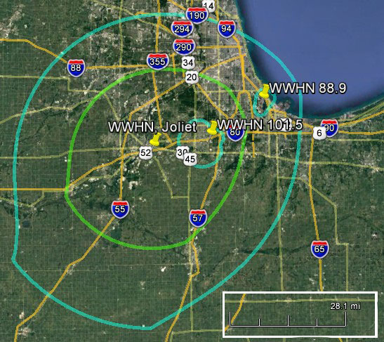 WWHN Comfortable Radio Coverage Maps